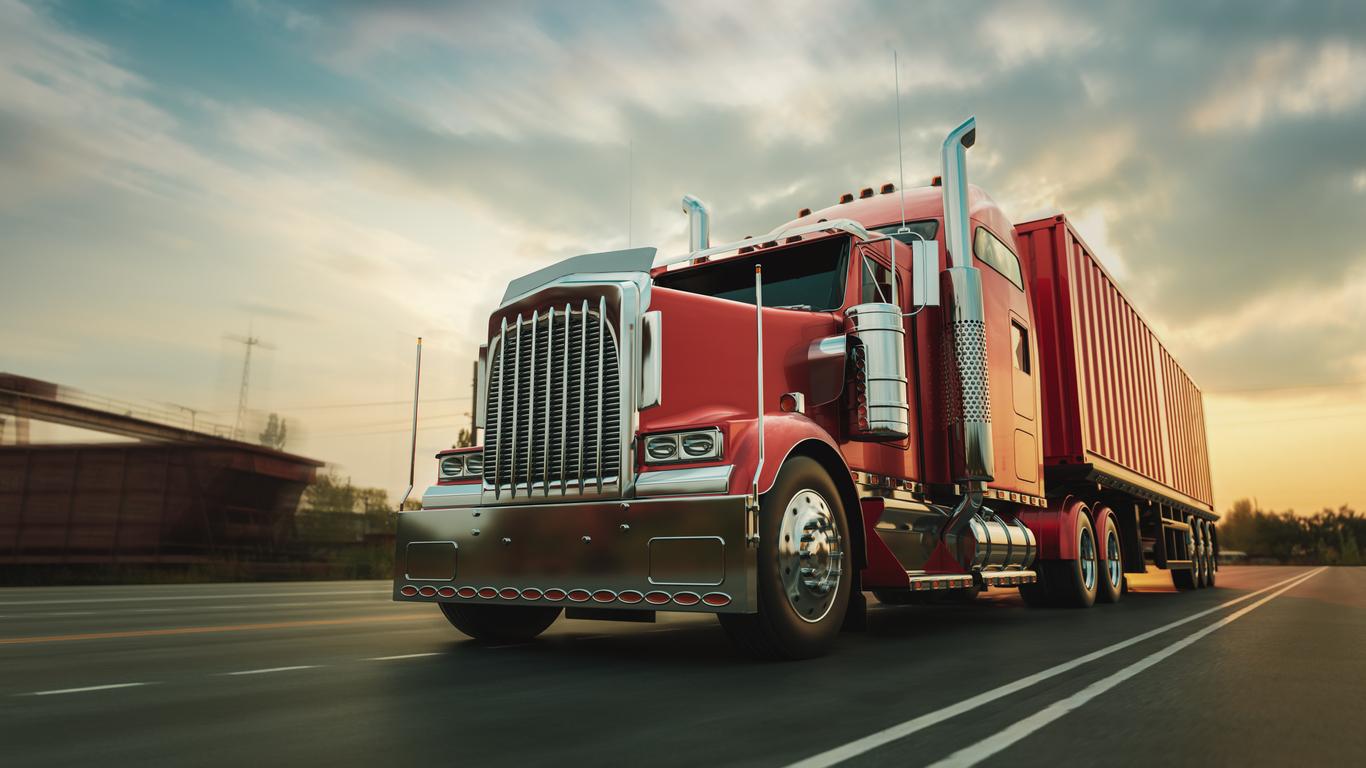 Red Truck Running on Highway